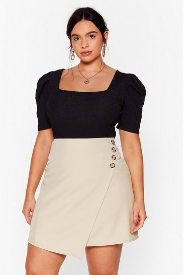 Beige From Now Button Plus Wrap Skirt
