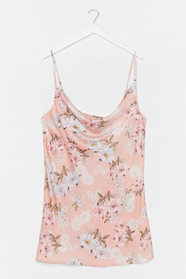 Pink Plus Size Floral Mini Slip Dress