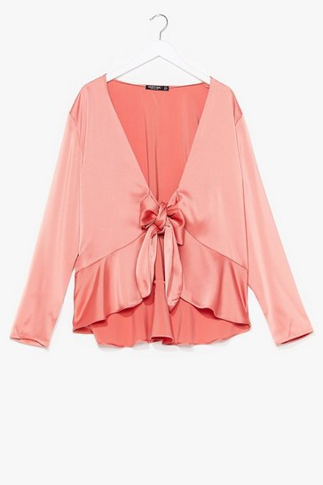 Amber Plus Satin Tie Front Hem Blouse