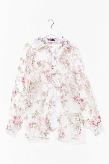 White Blossoming Romance Plus Floral Shirt