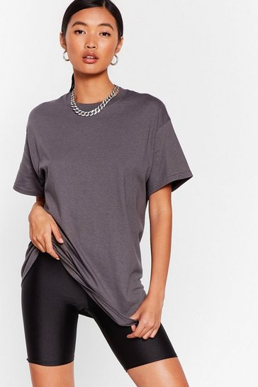 T-shirt basique ample Je sais rester simple, Charcoal