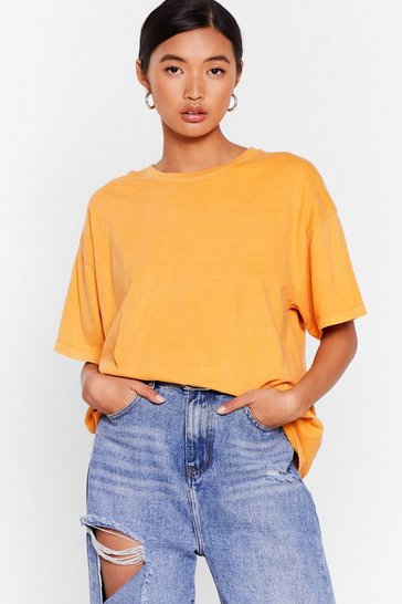 Orange What's the Relaxed Crew Neck Tee