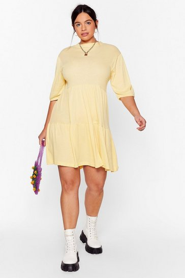 Lemon Smock It Off Plus Ribbed Dress
