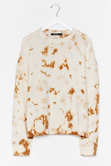 Cream Tie Dye My Love Relaxed Plus Sweatshirt