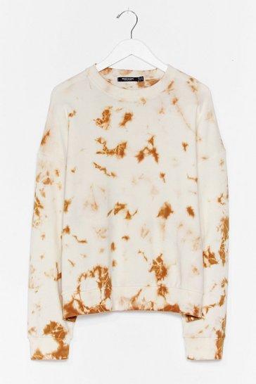 Cream Tie Dye My Love Relaxed Plus Sweatshirt