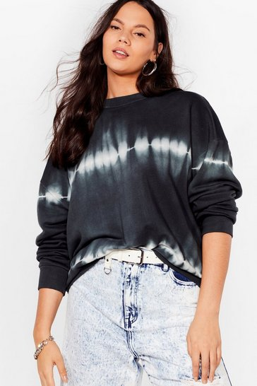 Grey marl Tie Dye My Love Relaxed Plus Sweatshirt