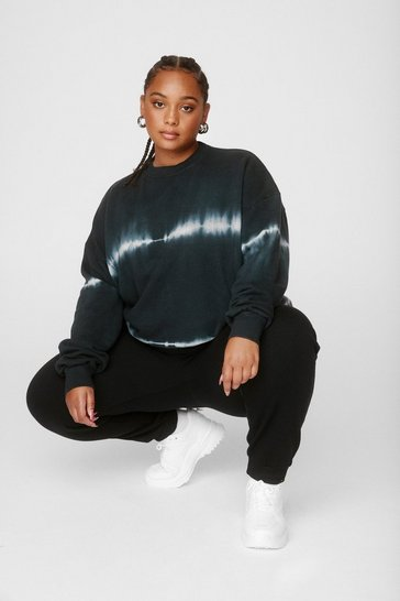 Grey Plus Size Tie Dye Relaxed Sweatshirt
