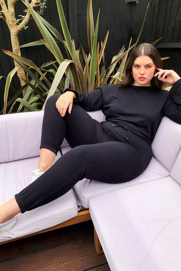 Black Staying in Plus Lounge Jumpsuit