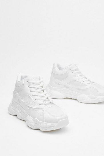 White Run for It Chunky Mesh Sneakers
