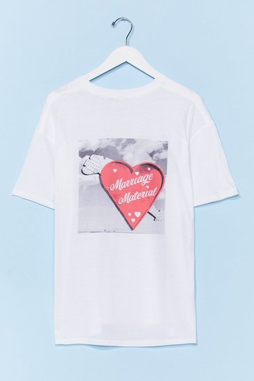 White Marriage Material Graphic Tee