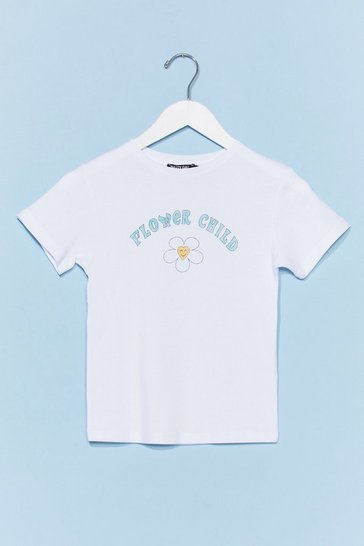 White Flower Child Floral Graphic Tee