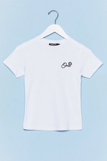 White Oui Oui Embroidered Daisy Graphic Tee