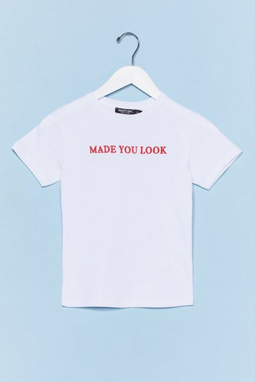 White Made You Look Graphic Tee