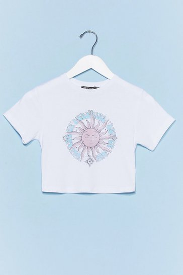 White Age of Love Cropped Graphic Tee