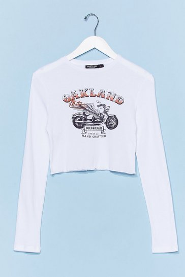 White Wanna Go for a Ride Cropped Graphic Tee