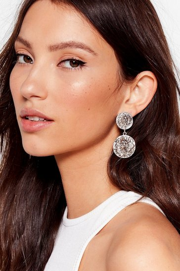 Silver We Aren't Lion Textured Drop Earrings