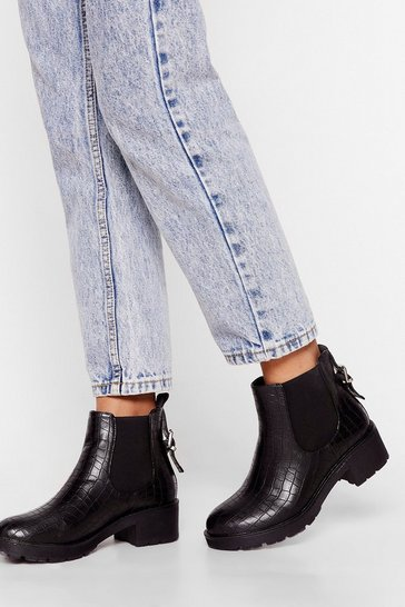 Black Croc Playin' Games Faux Leather Ankle Boots