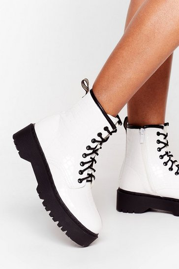 White Lace-Up Where We Belong Croc Ankle Boots