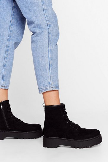 Black Faux Suede You Look Lace-Up Ankle Boots
