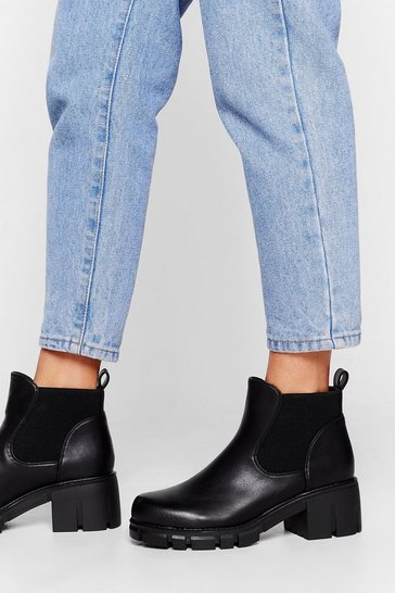 Black Let's Take a Walk Cleated Ankle Boots