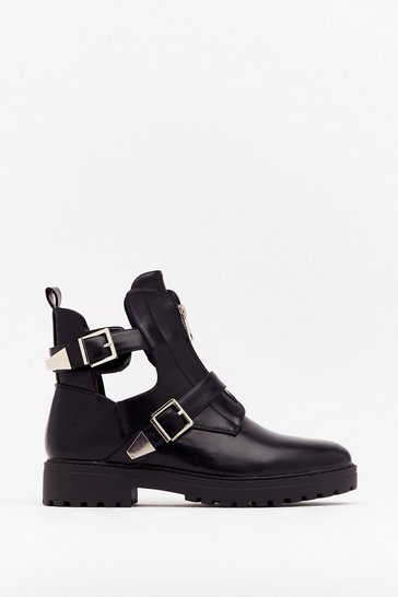 Black Don't Leave Anythin' Cut-Out Ankle Boots