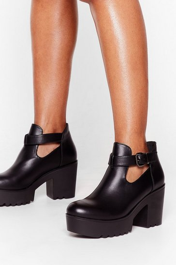 Black Figure Me Cut-Out Cleated Platform Boots