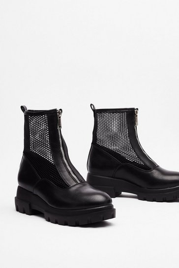 Black Mesh is More Zip Sock Boots