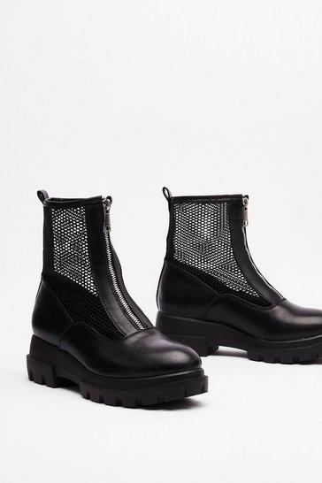 Black Mesh is More Zip Sock Boots