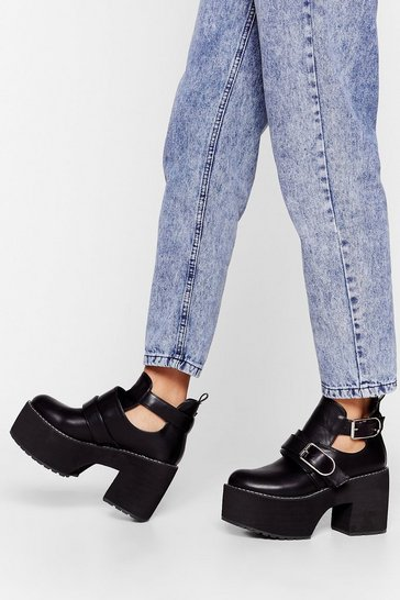 Black Are You Up for It Platform Cut-Out Boots