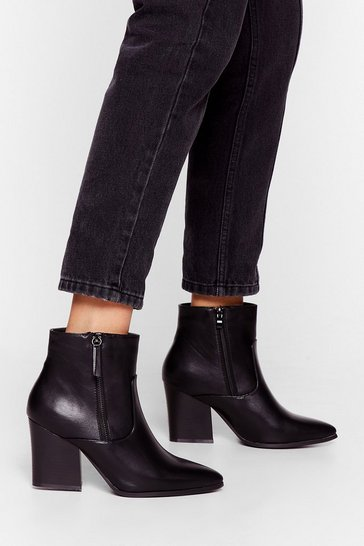 Black The Point is Faux Leather Boots
