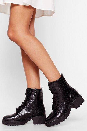 Black It's Croc Over Patent Faux Leather Biker Boots