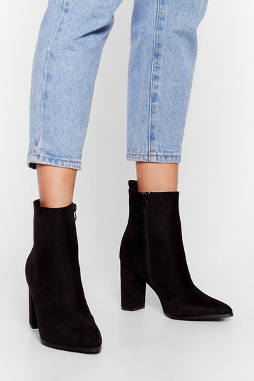 Black Faux Suede Pointed Heeled Ankle Boots