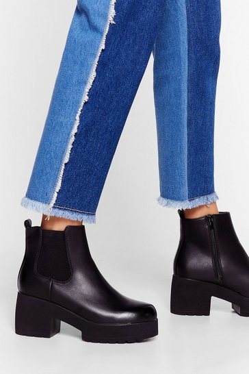 Black In Need Of a Lift Platform Ankle Boots