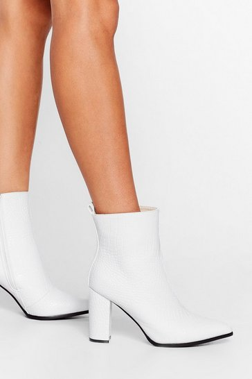 White Croc and Stare Faux Leather Heeled Boots