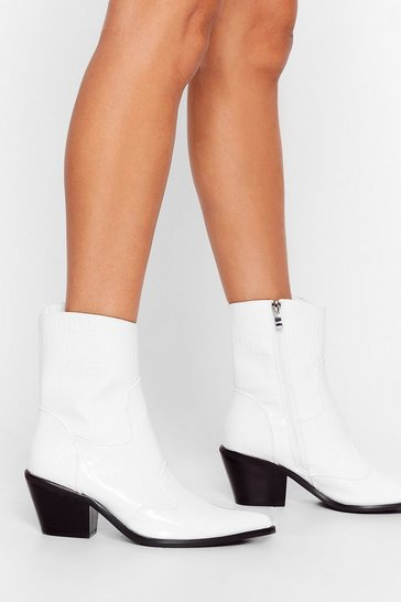 White Heading Western Patent Faux Leather Boots