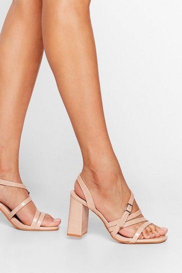 Nude Don't Croc Movin' Strappy Heeled Sandals