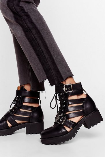 Black Talk It Cut-Out Lace-Up Ankle Boots