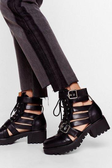 Black Talk It Cut-Out Lace-Up Ankle Boots