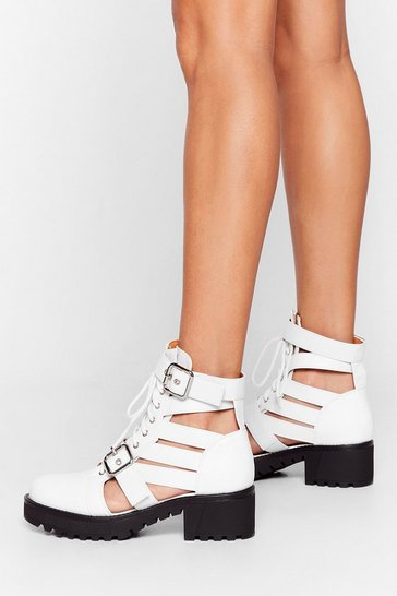 White Talk It Cut-Out Lace-Up Ankle Boots
