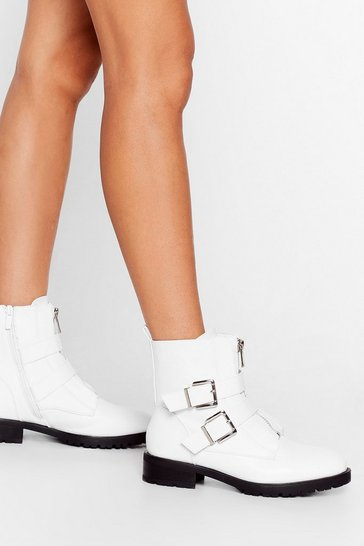 White Like We Give a Buck-le Faux Leather Ankle Boots