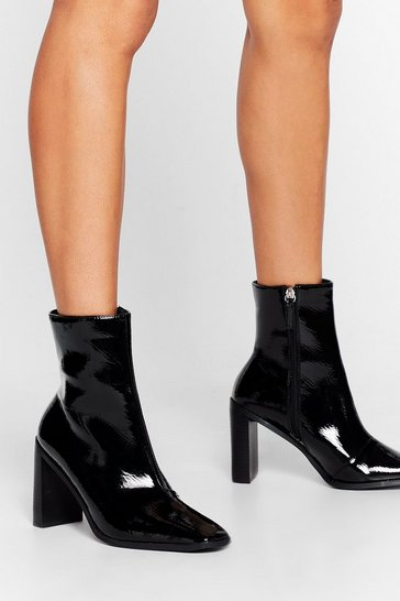 Black Let Me Patent You a Picture Heeled Ankle Boots