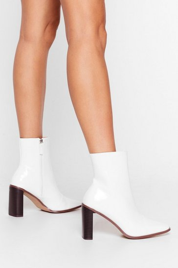 White Let Me Patent You a Picture Heeled Ankle Boots