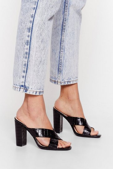 Black Crossed Off Heeled Croc Mules