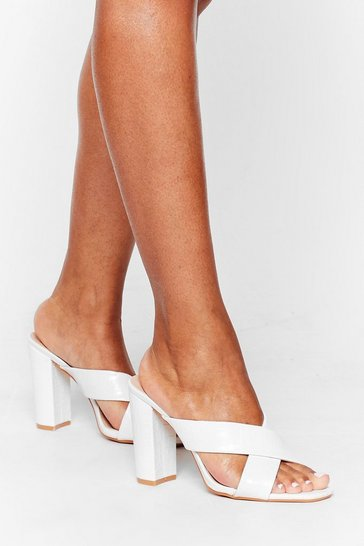 White Crossed Off Heeled Croc Mules