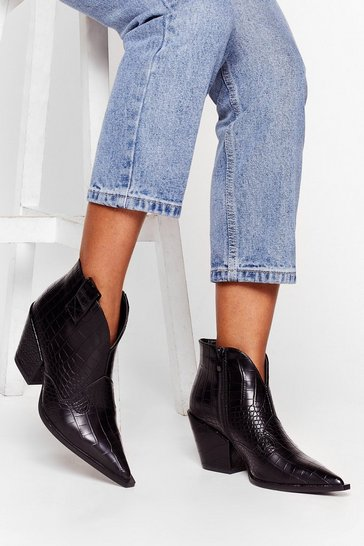 Black No West For the Wicked Croc Ankle Boots
