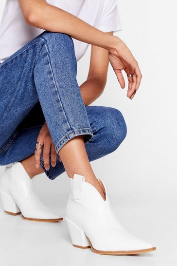 White No West For the Wicked Croc Ankle Boots