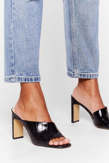 Black Mule the Night Croc Heeled Mules