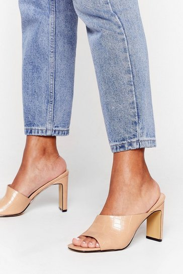 Nude Mule the Night Croc Heeled Mules