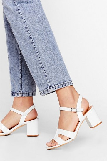 White On My Block Strappy Sandals
