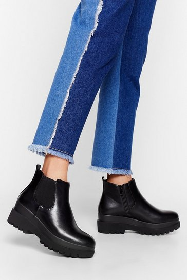Black Cleated Nights Faux Leather Chelsea Boots